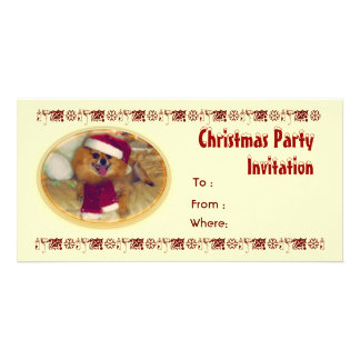 Pomeranian Santa Christmas Party Invitation