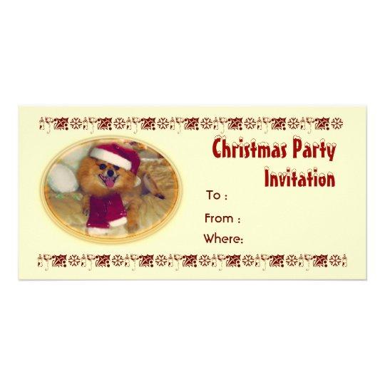 Pomeranian Santa Christmas Party Invitation
