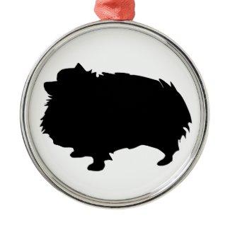 Pomeranian Silhouette Christmas Ornament
