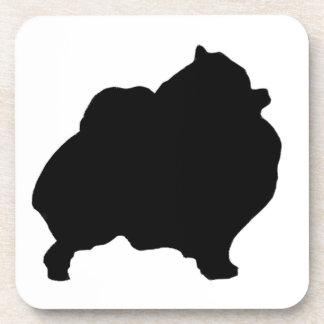 Pomeranian silhouette drink coaster