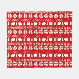 Pomeranian Silhouettes Christmas Pattern Fleece Blanket