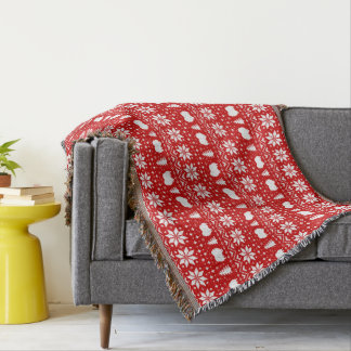 Pomeranian Silhouettes Christmas Pattern Throw Blanket