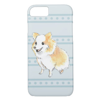 Pomeranian Sitting Watercolour in Blue iPhone 7 Case