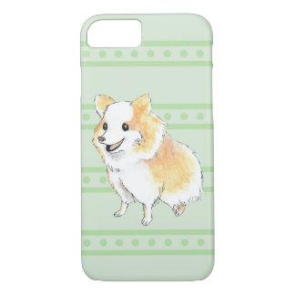 Pomeranian Sitting Watercolour in Green iPhone 7 Case