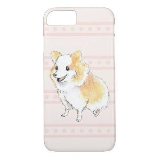 Pomeranian Sitting Watercolour in Pink iPhone 7 Case
