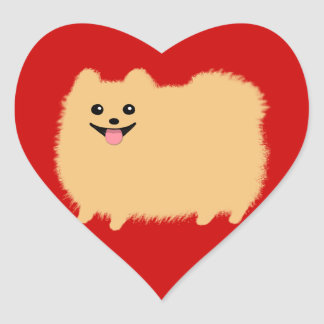 Pomeranian - Super Cute Pommy on Red Heart Sticker