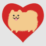 Pomeranian - Super Cute Pommy on Red Heart Stickers