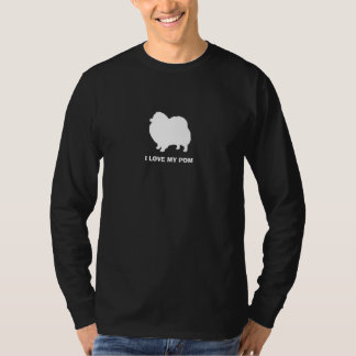 Pomeranian White Silhouette with Custom Text T-Shirt