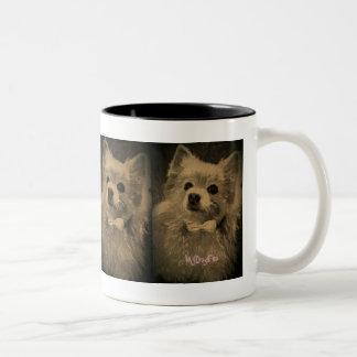 Pomeranian With Bow Tie #4 Two-Tone Coffee Mug