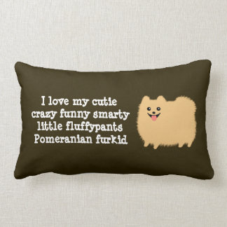 "Pomeranian with Custom Text - ""I love my cutie..."" Lumbar Pillow"