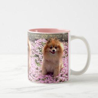 Pomeranian with flowers mug