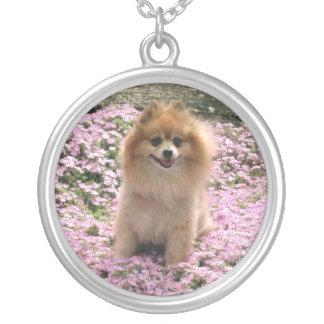 Pomeranian with flowers Necklace