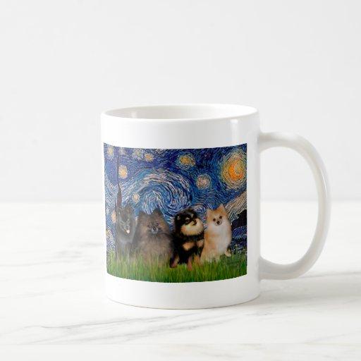Pomeranians (four) - Starry Night Coffee Mugs