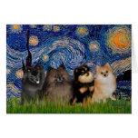 Pomeranians (four) - Starry Night Greeting Card