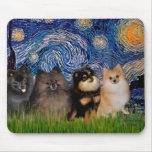 Pomeranians (four) - Starry Night Mouse Mats