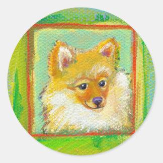Pomerarnian puppy funny sweet modern dog art classic round sticker
