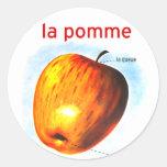 Pomme retro Apple del la de la comida del kitsch Etiqueta Redonda