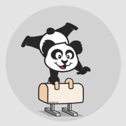 Round Sticker with Cute Pommel Horse Panda design
