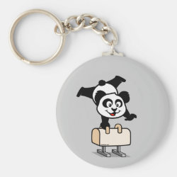 Basic Button Keychain with Cute Pommel Horse Panda design