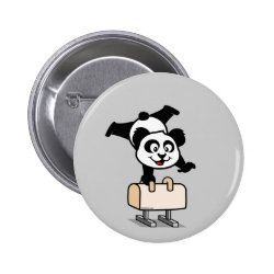 Cute Pommel Horse Panda Round Button