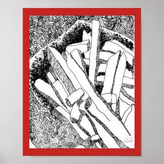 pommes frites red border poster