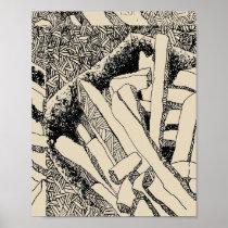 pommes frites tiled in biege poster