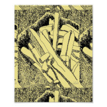 pommes frites tiled in pale yellow poster