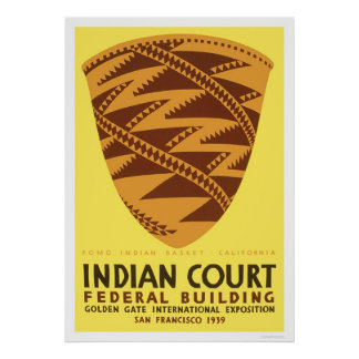 Pomo Indian Basket 1939 WPA Poster