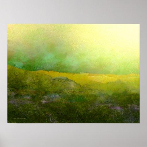 Pompadour Bluff Yellow Green Print