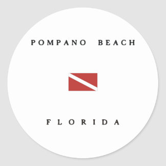 Pompano Beach Florida Scuba Dive Flag Classic Round Sticker