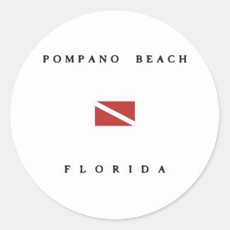 Pompano Beach Florida Scuba Dive Flag Round Stickers