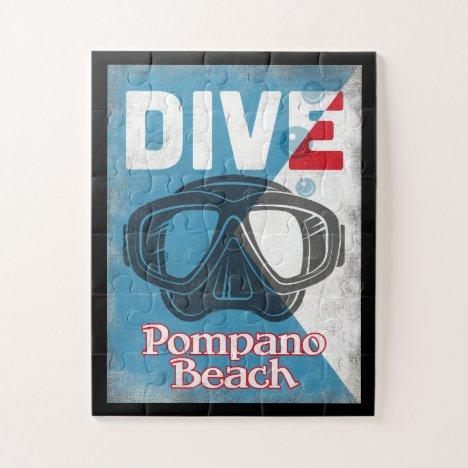 Pompano Beach Vintage Scuba Diving Mask Jigsaw Puzzle