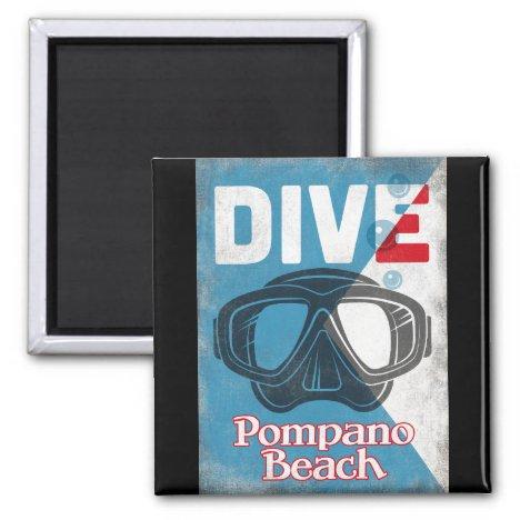 Pompano Beach Vintage Scuba Diving Mask Magnet