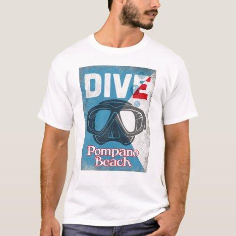 Pompano Beach Vintage Scuba Diving Mask T-Shirt