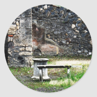 Pompei courtyard marble fountain and bench round stickers