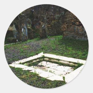 Pompei - Marble Fountain in the Garden of a Villa Round Stickers