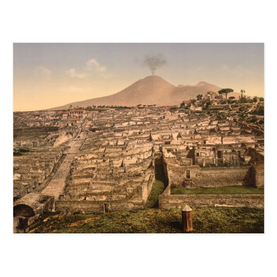 Pompeii and Mount Vesivius, Campania, Italy Postcard