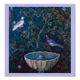 POMPEII COLLECTION DOVES IN THE GARDEN POSTER