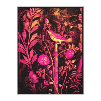 POMPEII COLLECTION NIGHTINGALE WITH ROSES Pink Stretched Canvas Print