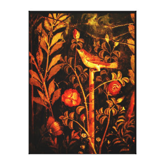 POMPEII COLLECTION NIGHTINGALE WITH ROSES , Red Canvas Print
