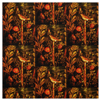 POMPEII COLLECTION NIGHTINGALE WITH ROSES Yellow Fabric