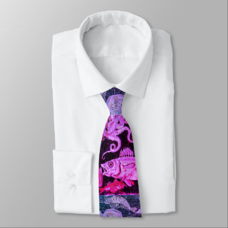 POMPEII COLLECTION / OCEAN SEA LIFE Pink Blue Neck Tie