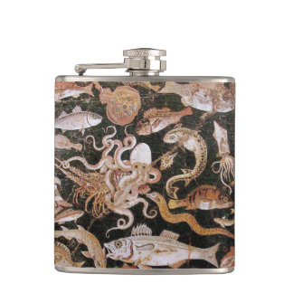 POMPEII COLLECTION / OCEAN - SEA LIFE SCENE HIP FLASK