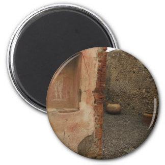Pompeii - Wall lararium - Painting in  Niche 2 Inch Round Magnet