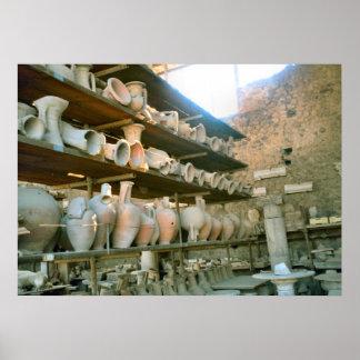 Pompeya, almacén para la cerámica excavada póster
