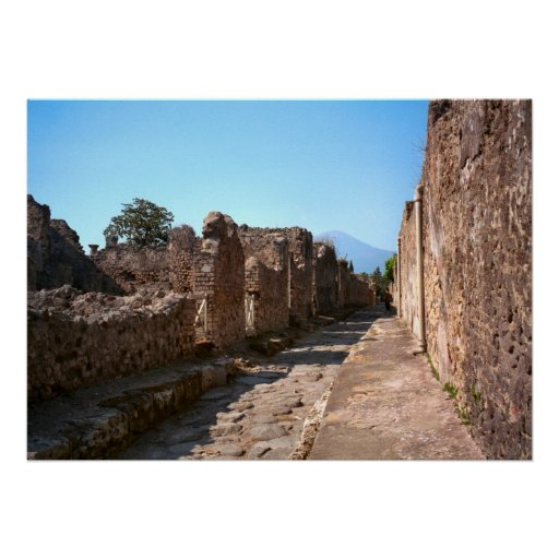 Pompeya, calle Cobbled con la acera Póster