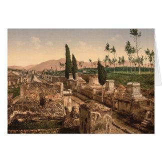 Pompeya, calle de la tarjeta de nota de las tumbas