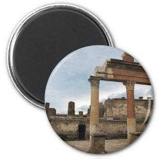 Pompeya - columnas restantes de la arcada imán redondo 5 cm