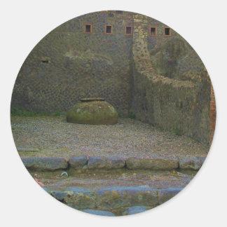 Pompeya - ruina con el buque del vino pegatina redonda