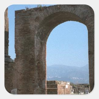 Pompeya, sitio arqueológico pegatina cuadrada